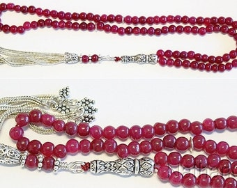 Islamic Prayer Beads Tesbih Gebetskette Genuine Ruby and Sterling -99 Beads