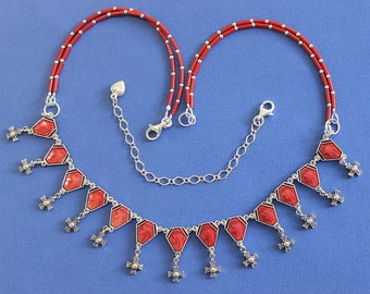 1950 Vintage Enameled Rosary Centers Repurposed into Necklace W Coral and Sterling