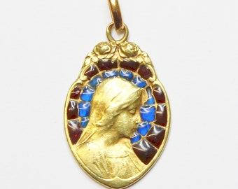 1950's Vintage 18 K Gold Plique-à-Jour Mary Bi Color Pendant Medal