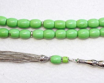 Luxury Prayer Beads Tesbih Lime Turquoise & Sterling -Top Quality- Collector's