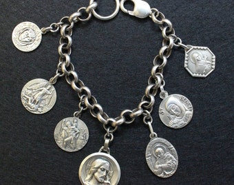 All Heavy Sterling Vintage Charm Bracelet w 7 Rare Medals Jesus & Saints