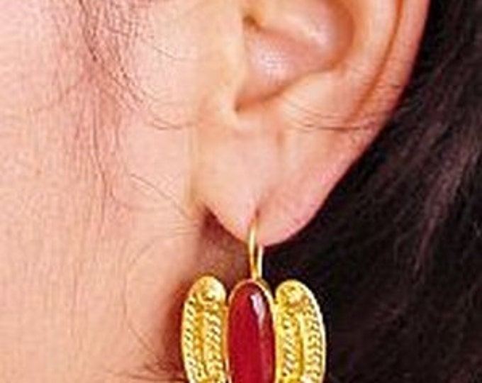 Featured listing image: Isle of Crete  Earrings Gold and Carnelian by The Swan Collection
