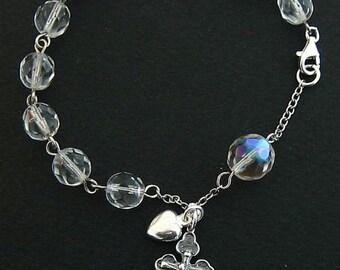 Catholic Rosary Bracelet Vintage Bohemian Crystal and Sterling Silver