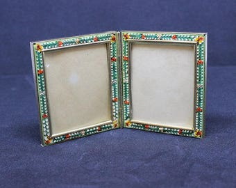 Vintage Millefiori Micro Mosaic PAIR of Hinged LARGE Photo Frames New Old Stock Pristine Rare