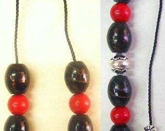 Begleri Mini Konmboloi Red and Black Coral ( Yussuri) and Sterling Silver - Exclusive Design