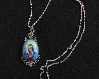Vintage Medal Mater Dolorosa Hand Painted Miniature in Sterling Filigree Frame w Chain