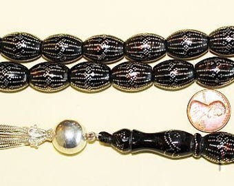 Prayer beads Tesbih Yusr black Coral barrel 12500 Sterling studded nails XXRare