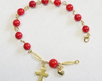 Catholic Rosary Bracelet Rosenkranz in Red Coral and Vermeil