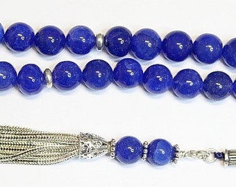 Luxury Prayer Beads Tesbih Thailand Sapphires and Sterling Silver - Top Quality - Collector's