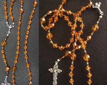 Catholic Rosary Swarovski Amber Crystals and Sterling Silver