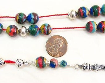 Greek Komboloi Rainbow Calsilica and Sterling Silver