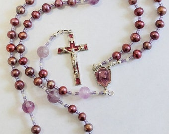 Catholic Rosary Rosenkranz Purple Pearls Amethyst and Vintage Enameled Center & Cross