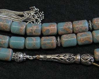 Luxury Prayer Worry Beads Komboloi Rare Aqua Snake Skin Jasper & Sterling Silver