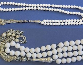 Islamic Prayer Beads Tesbih Gebetskette 99 White Coral & Sterling Silver