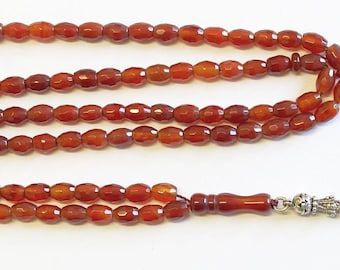 Islamic Prayer Beads Tesbih Gebetskette 99 Beads Faceted Carnelian & Sterling Silver