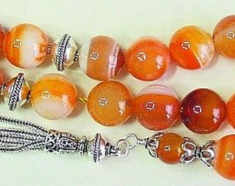 Worry Beads Greek Komboloi Banded Agate and Sterling Silver