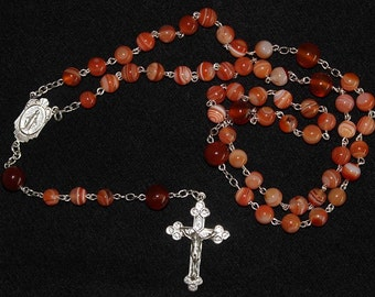 Catholic Chain Rosary Prayer Beads Chaplet Orange Sardonyx  and Sterling Silver