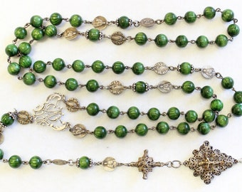 1930's XXRare Large Green Galalith w Sterling Rosary many Medals, Credo &  Reliquary Cross UNIQUE