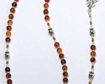 Catholic Rosary Prayer Beads Genuine Baltic Cognac Amber & Sterling