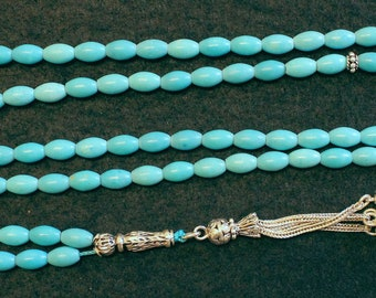 Islamic Prayer Beads Gebetskette 99 A Grade Turquoise & Sterling Silver