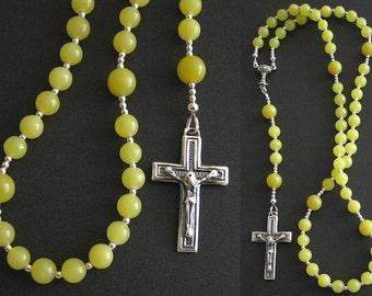Catholic First Communion Rosary Prayer Beads Green Jade & Sterling Silver