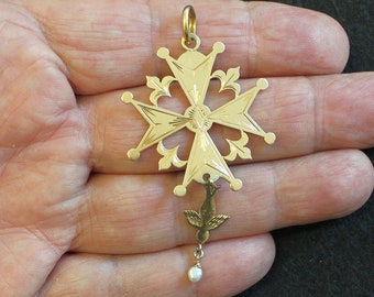1930's Vintage French 18 K Gold Pendant Huguenot Large Cross, Exquisite Detail Never Seen Before XXR