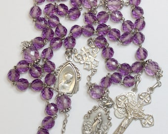 Dd 1899 Amethyst & Sterling Silver Awesome Catholic Rosary w Many Medals – French - Rare