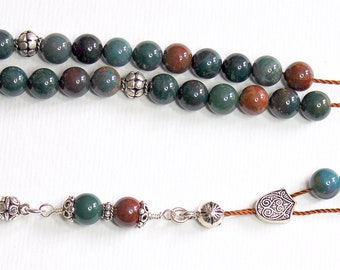 Greek Komboloi Worry Beads Bloodstone and Sterling Silver