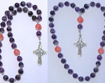 Beaded CHOTKI KOMBOSKINI : Amethyst,  Rose Quartz and Sterling  - ORTHODOX Rosary