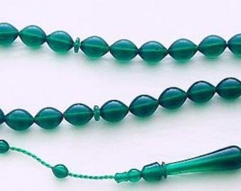 Prayer Beads Tesbih Green Turkish Amber Catalin - SUFI CARVING - COLLECTOR'S