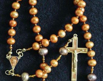 Catholic Rosay Prayer Beads Golden Copper Fresh Water Pearls