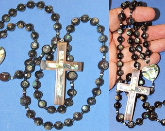 Catholic Rosary of  Ebony and Paua - Abalone - Shell - Hand Made Beads From Philippines - Unique