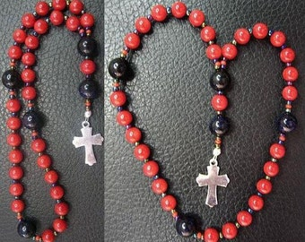 MINI Anglican Episcopal Rosary Prayer Beads Coral, Goldstone and Sterling Silver