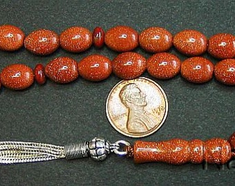 Prayer Beads Tesbih Gebetskette Brown Goldstone & Sterling Silver Complete and Perfect