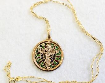 Vintage 18 K Gold Plique-à-Jour Filigree Cross Pendant Medal 1930's w Chain
