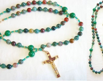 Catholic Rosary Bloodstone & Vermeil With Vintage Cross and Saint Therese Center