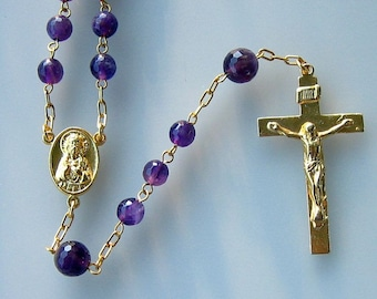 Catholic Chain Rosary Prayer Beads  Faceted Amethyst and Gold