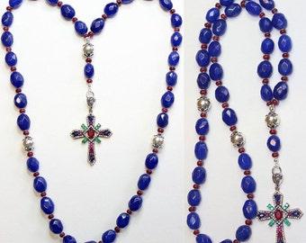 Beaded CHOTKI KOMBOSKINI Genuine Sapphire and Sterling - Unique and impressive ORTHODOX Rosary