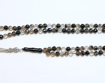 Islamic Prayer Beads Tesbih Faceted 99 Black Matrix Quartz and Sterling Silver