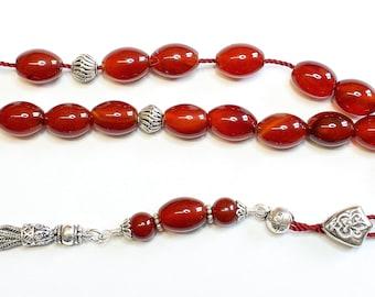 Greek Komboloi Large Oval Carnelian & Sterling Silver - Worry Beads