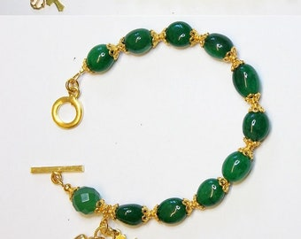 Catholic Rosary Bracelet Oval Genuine Emerald Beads, Vermeil Cross, Heart & Anchor