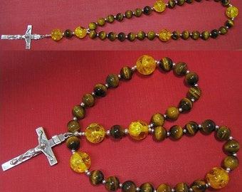 Anglican Episcopal Rosary  Prayer Beads Tiger Eye, Amber and Sterling Silver