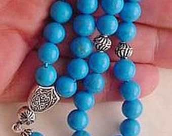 Worry Beads Greek Komboloi Turquoise and  Sterling Silver