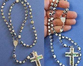 Catholic St  Rita Rosary Troca Shell Inlaid w Paua Hand Made Beads - Unique