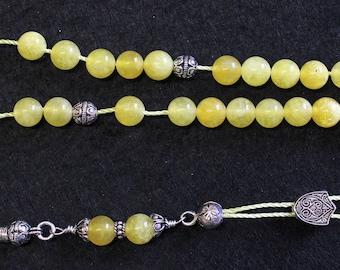 Greek Komboloi Yellow Jade Beads & Sterling Silver Parts