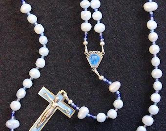 Catholic Rosay Prayer Beads Sky Blue Fresh Water Pearls