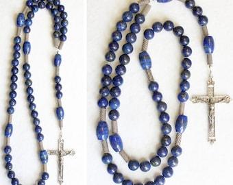Catholic Rosary Prayer Beads Lapis Lazuli and Heavy Sterling Silver