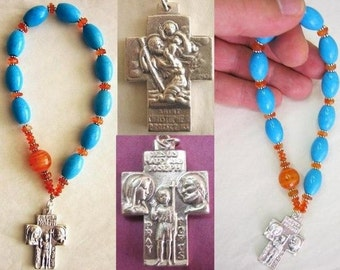 Catholic Rosary Chaplet Turquoise, Carnelian and Sterling Silver
