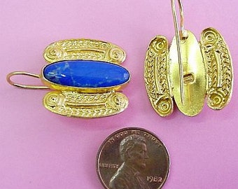 Isle of Crete  Earrings Gold and Lapis Lazuli by The Swan Collection