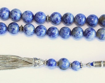 Luxury Prayer Beads Tesbih AA Grade Sodalite and Sterling Silver - Top Quality - Collector's